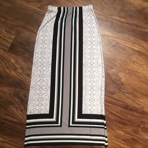 CATO Floral and Stripes Maxi Skirt Size Small